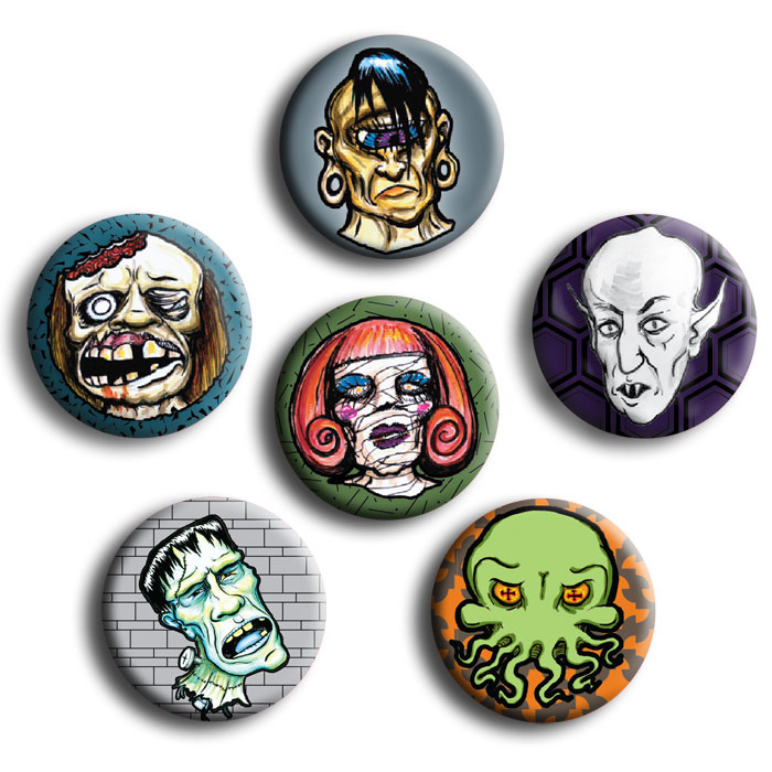 Monster Button Pack (6 badges)