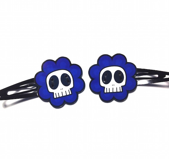 Skully Flower Hair Clips, Pair, Blue