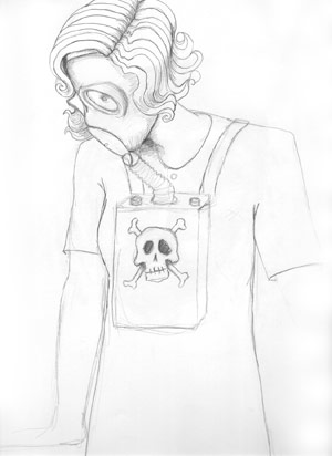 Gas Mask Lady | copyright Dragon Messmer 2004, skullyflower.com