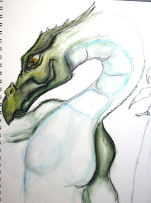 oilstick Dragon | copyright Dragon Messmer 2004, skullyflower.com