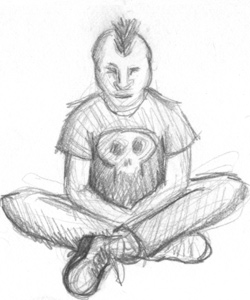 punk Meditator | copyright Dragon Messmer 2005, skullyflower.com